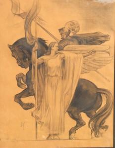 "Paul MANTES - Drawing-Watercolor - ""LA RENOMMEE"""