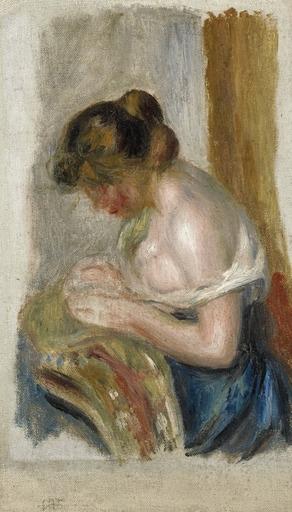 Pierre-Auguste RENOIR - Painting - La Couseuse