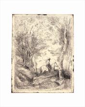 Camille Jean-Baptiste COROT - Estampe-Multiple - Le Grand Cavalier sous Bois