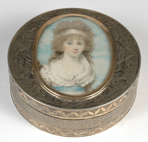 """Henry EDRIDGE - Drawing-Watercolor - """"Silver snuffbox with portrait of Anna Maria Blunt"""", ca.1795"""