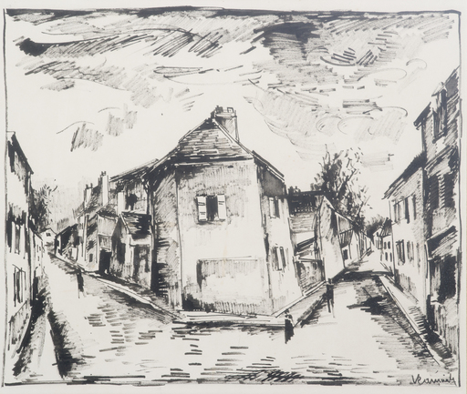 Maurice DE VLAMINCK - Drawing-Watercolor - Vue de Valmondois
