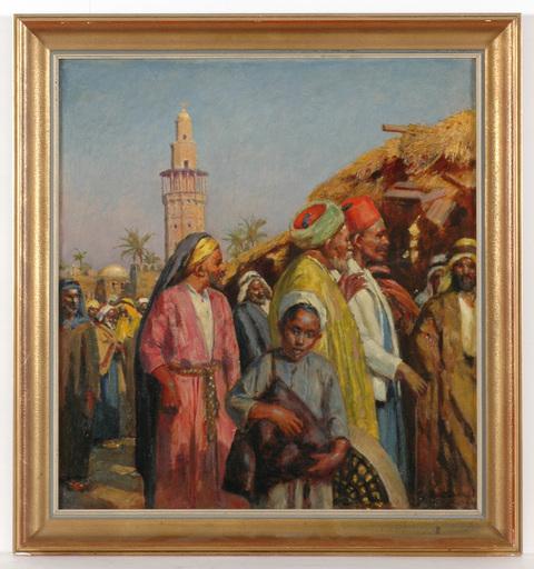 """Johann Viktor KRÄMER - Pintura - """"Market in Gaza"""" important Orientalist painting, ca 1900"""