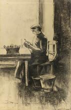Lesser URY - Dibujo Acuarela - Potato Peeler at the Table | Kartoffelschälerin am Tisch