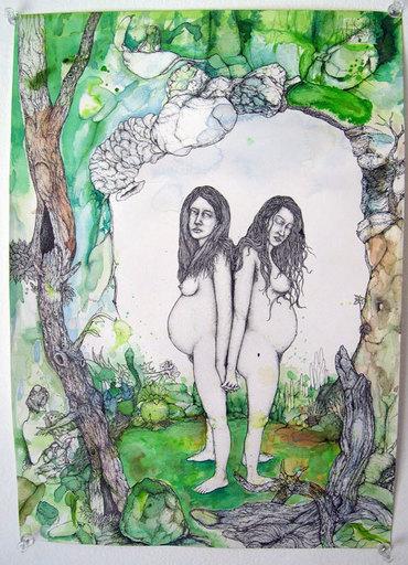John KLECKNER - Dibujo Acuarela - Untitled (Twins)