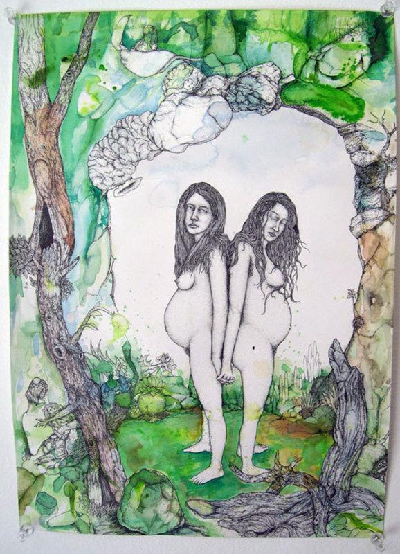 John KLECKNER - Dessin-Aquarelle - Untitled (Twins)