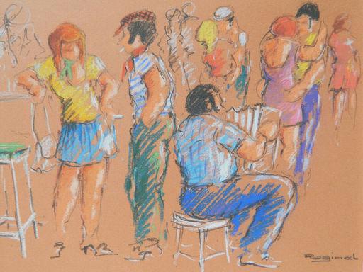 Andres RAGINEL - Dibujo Acuarela - BAR - DANSE - MUSIQUE