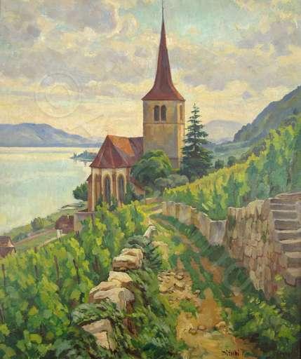 Albert BÜTSCHI - Peinture - Kirche von Ligerz