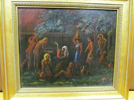 Rudolf BURGER - Peinture - Erotischer Frauenakt vor Brunnen