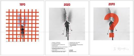 Eric BULATOV - Estampe-Multiple - Skier: 1970 - 2020 - 2070
