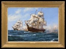 Montague J. DAWSON - Painting - The Privateer 'Virginian' capturing the 'Petit Madelon'