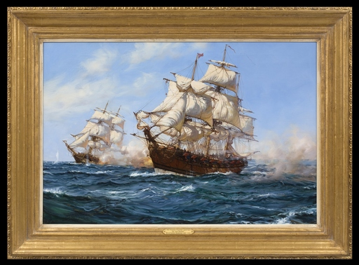 Montague J. DAWSON - Pittura - The Privateer 'Virginian' capturing the 'Petit Madelon'