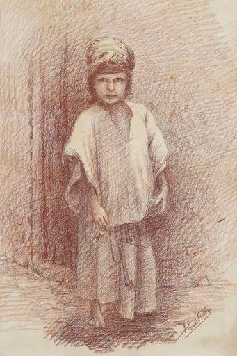 Alcide BARITEAU - Drawing-Watercolor - Oriental child c.1890-1930
