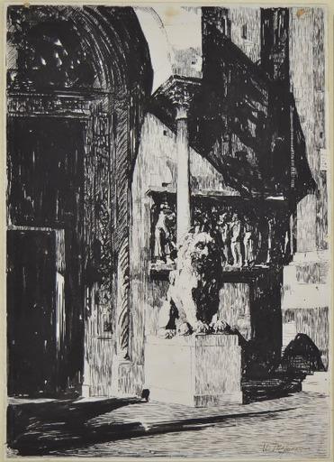 Ubaldo MAGNAVACCA - Dessin-Aquarelle - PORTA DELLA CATTEDRALE DI MODENA, ante 1917