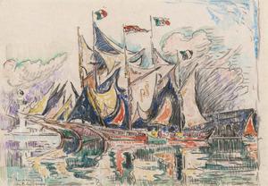 Paul SIGNAC - Dibujo Acuarela - Antibes, Goelettes au port