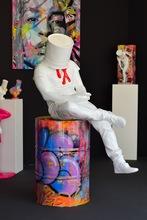 David DAVID - Sculpture-Volume - Blind - Blanc/Rouge