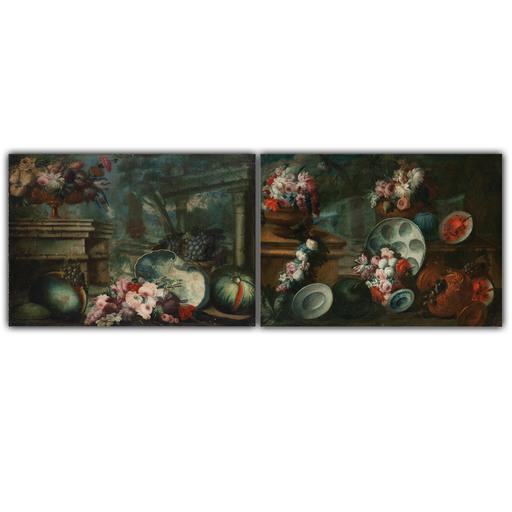 Gasparo LOPEZ DEI FIORI - Pintura - Coppia di nature morte 1710