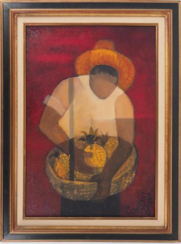 Louis TOFFOLI - Painting - Brazil : Man with Pineapple
