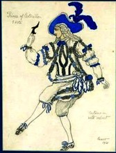 Léon BAKST - Drawing-Watercolor - Costume design: Prince Cendrillon