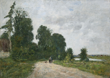 Eugène BOUDIN - Pintura - Chemin animé, bord de rivière