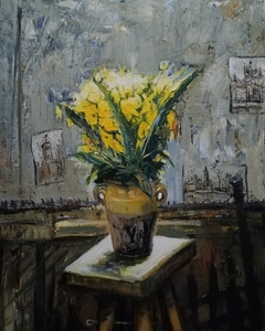Gilbert PECOUD - Pintura - Les fleurs jaune dans l'atelier