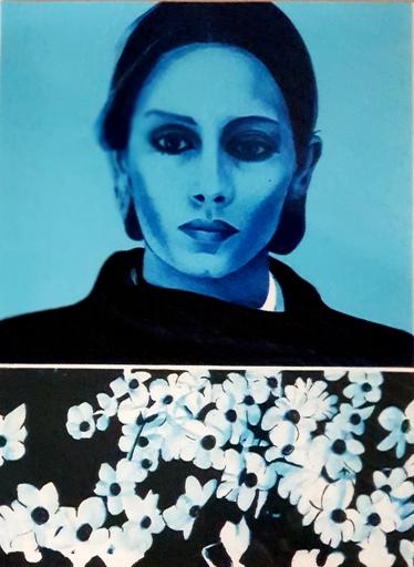Jacques MONORY - Print-Multiple - Portrait de femme bleu en fleurs