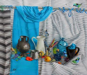 Tatjana PALCUKA - Painting - Rainbow Light Blue    (Cat N° 6676)