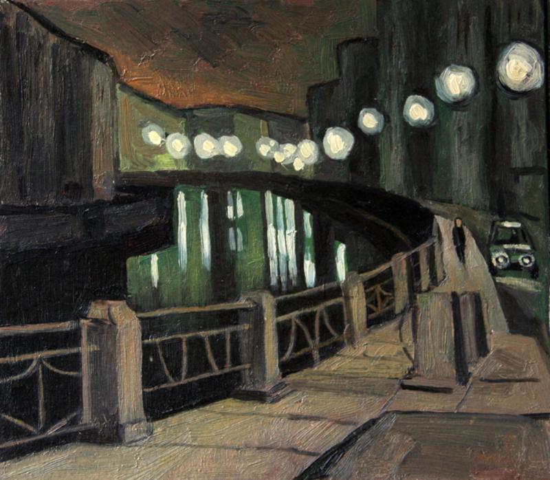 Valeriy NESTEROV - Peinture - Moyka river embankment. Leningrad