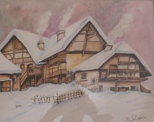 Jean-Claude LELIEVRE - Dessin-Aquarelle - village montagrard 1