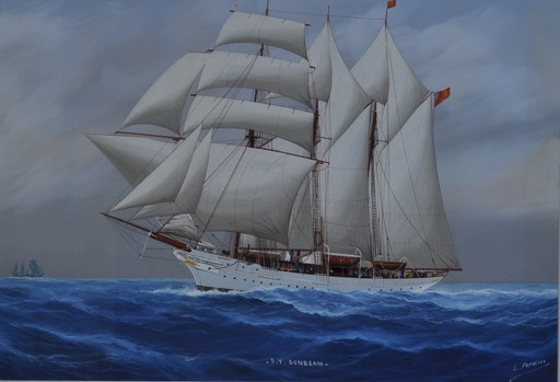 Louis PAPALUCA - Drawing-Watercolor - S Y 'Sunbeam', in full sale, on the high seas