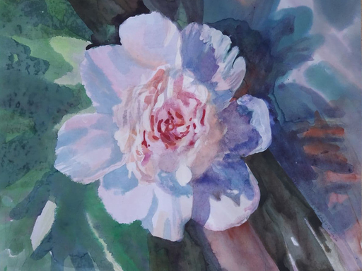 "Galina VINDALOVSKAIA - Drawing-Watercolor - ""White Peony Sunny Day"" Spring Green Blue Pink"