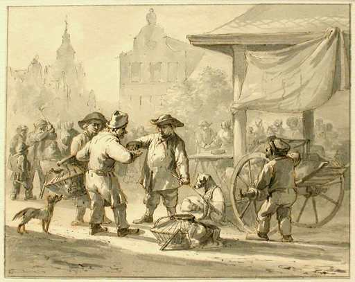 Bruno I VAN STRAATEN - Drawing-Watercolor - Market Scene