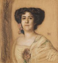 Franz VON STUCK - Dibujo Acuarela - Portrait einer Dame