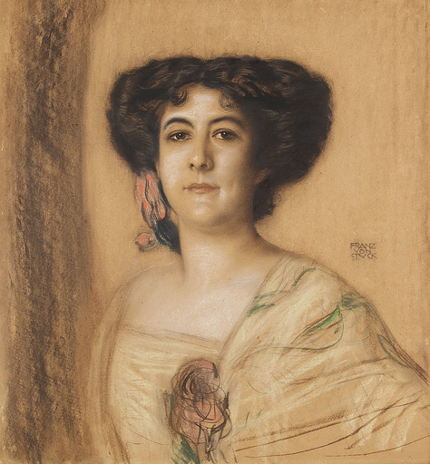 Franz VON STUCK - Drawing-Watercolor - Portrait einer Dame