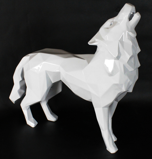 Richard ORLINSKI - Sculpture-Volume - Loup hurlant, blanc