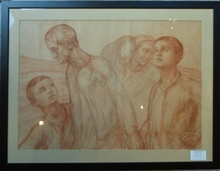 Léon DETROY - Drawing-Watercolor - La famille