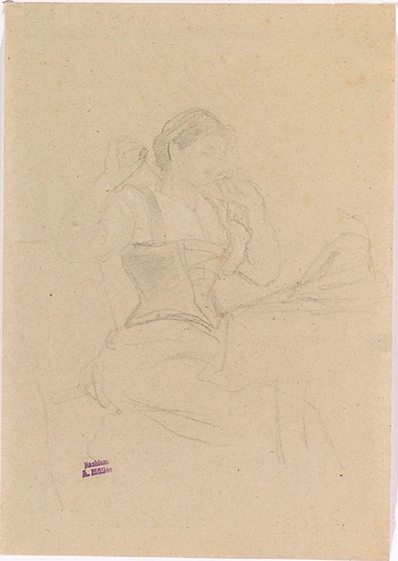 "Anton MÜLLER - Drawing-Watercolor - ""Female Study"", Drawing"