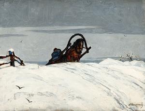 Stanislas ELESZKIEVICS - Pintura - Traîneau parvenant en haut de la côte