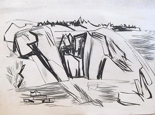 Erich HARTMANN - Dessin-Aquarelle - #19918: Norwegen - Felsen am Meer.