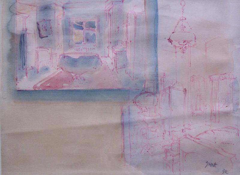 George GROSZ - Dessin-Aquarelle - Set Design for the Film 'I am a Camera'