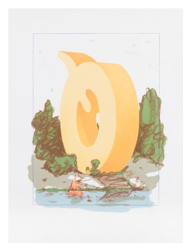 Claes Thure OLDENBURG - Druckgrafik-Multiple - The Letter Q as Beach House with Sailboat