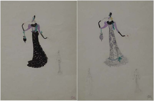 "Julie SITTE - 水彩作品 - ""Two Stage Costume Designs"", early 20th Century"