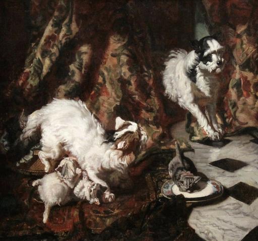 Philippe ROUSSEAU - Pintura - Un Importun, chien griffon et chattons