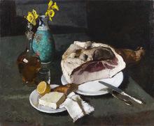 Alessio ISSUPOFF (1889-1957) - natura morta con prosciutto