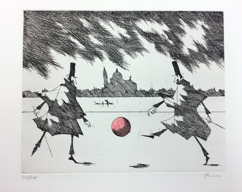 Paul FLORA - Druckgrafik-Multiple - Ein Ballspiel