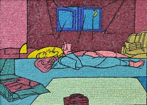 Valerio ADAMI - Gemälde - Senza titolo (L'uomo che fuma)
