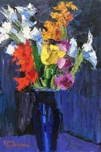 Pierre AMBROGIANI - Peinture - Bouquet de glaïeuls sur fond violet