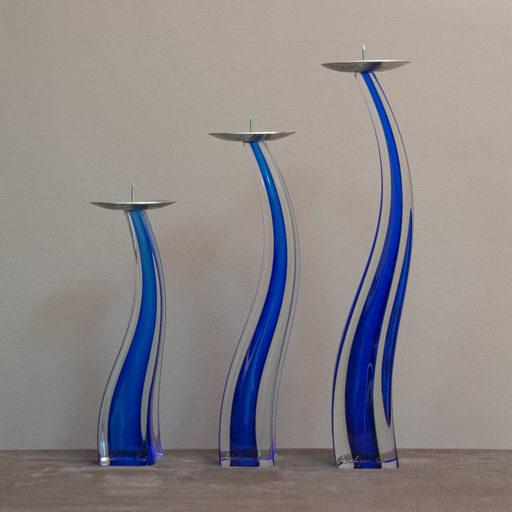Giuliano TOSI - Serie tre candelieri vetro Murano firmati Giuliano Tosi