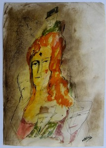 Zvi MILSHTEIN - Drawing-Watercolor - LA BELLE DAME ET SES AMOUREUX
