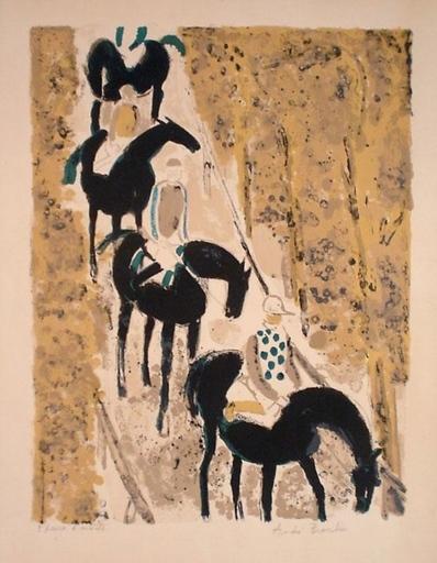 André BRASILIER - Grabado - Jockeys sur la Neige, 1963.