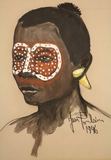 Jean POULAIN - Painting - Tête africaine au maquillage tribal rouge et blanc